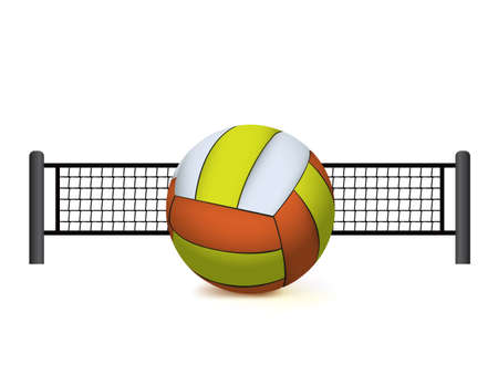 An illustration fo a realistic volleyball and volleyball net isolated on white. Vector EPS 10 available. EPS contains a gradient mesh.