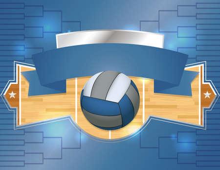 sideline: Una ilustraci�n de un volante torneo de voleibol o p�ster. Vector EPS 10 disponible. EPS contiene las transparencias.