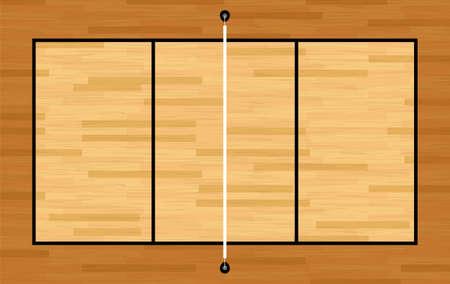 Een illustratie van een luchtfoto van een hardhouten volleybalveld en net. Vector EPS-10 beschikbaar.