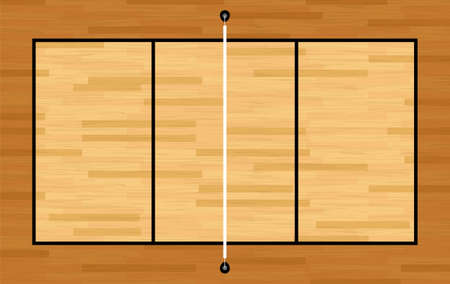 An illustration of an aerial view of a hardwood volleyball court and net. Vector EPS 10 available.