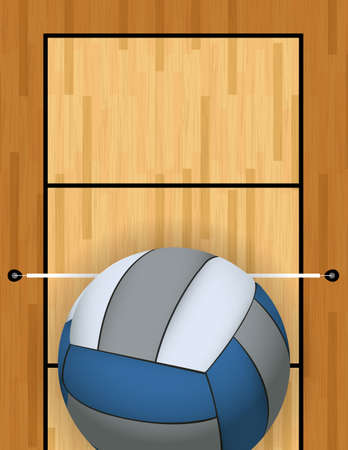 indoor court: A vertically oriented aerial view of a volleyball and court background illustration. Vector EPS 10 available.