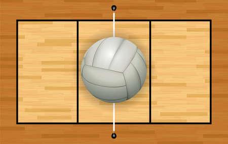 voleibol: Un voleibol blanco gris claro en una ilustración de cancha de voleibol de madera dura. Vector EPS 10 disponible.