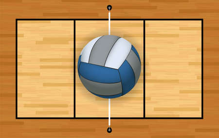 An aerial view of a volleyball and hardwood court and net illustration. Vector EPS 10 available.