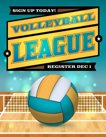 An illustration for a volleyball league flyer or poster. Vector EPS 10 available. EPS file contains transparencies and a gradient mesh. Copy has been converted to outlines in the EPS. EPS if layered. Illustration