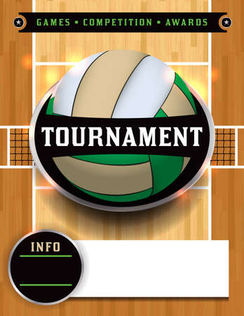 An illustration for a volleyball tournament poster or flyer invitation. Vector EPS 10 available. EPS file contains transparencies. Copy has been converted to outlines in the EPS. EPS is layered.