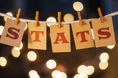 The word STATS printed on clothespin clipped cards in front of defocused glowing lights. Stock Photo