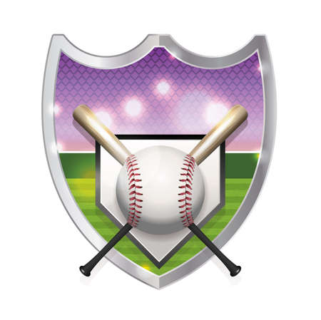 homerun: An illustration of a baseball, bats, home plate, and baseball field inside an emblem. Vector  available. file is layered and contains transparencies and gradient mesh. Illustration