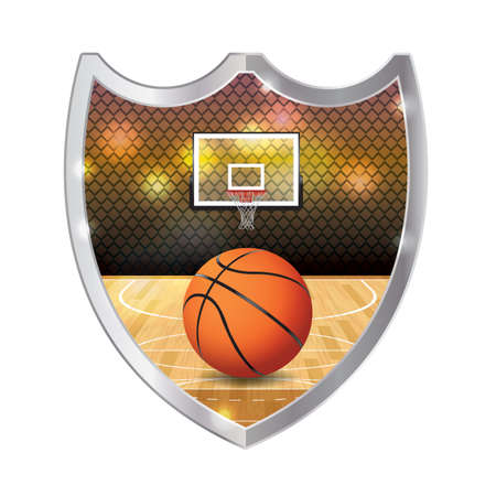 backboard: An illustration of basketball sitting on a hardwood court with hoop and backboard inside an emblem. Vector available. file is layered and contains transparencies and gradient mesh.