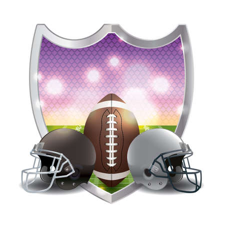 football american: An illustration of an American football emblem, ball, helmets, and field. Vector available. file is layered and contains transparencies and gradient mesh.