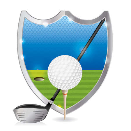 An illustration of a golf ball on a tee with a golf driver on a golf course emblem. Vector EPS 10 available. EPS file is layered and contains transparencies and gradient mesh.
