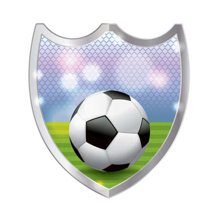 turf: An illustration of a football - American soccer ball sitting on a turf field inside an emblem. Vector available. file is layered and contains transparencies and gradient mesh. Illustration