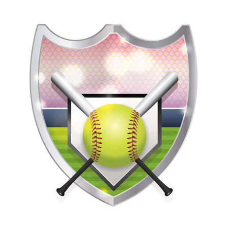 An illustration of an softball, bats, home plate and field inside an emblem. Vector available. file is layered and contains transparencies and gradient mesh. Illustration