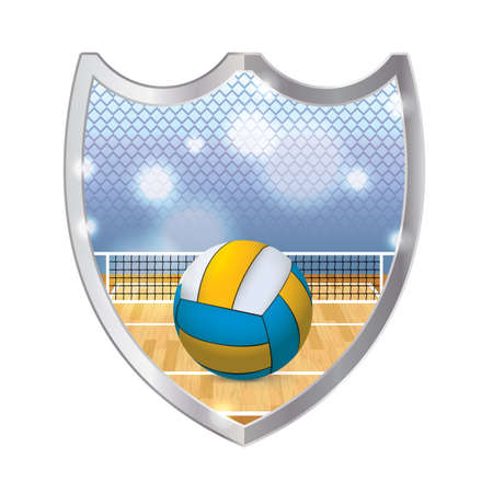 metal net: An illustration of an indoor volleyball court, net, and volleyball inside a metal emblem. Vector available. file is layered and contains transparencies and gradient mesh.