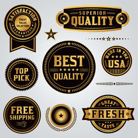 A set of quality, value, satisfaction guarantee, made in the USA, shipping, labels and badges illustrated in black and gold leaf. Vector illustration available. All badges are grouped separately and type has been converted to outlines. Illustration