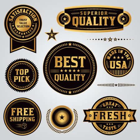 Zestaw jakości, wartości, gwarancji satysfakcji, made in USA, spedycja, etykiet i odznak ilustrowane czarno-złotych liści. Ilustracja Wektor dostępne. Wszystkie odznaki są zgrupowane osobno i rodzaj zostało zamienione na krzywe.