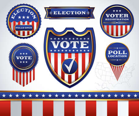 An illustrated set of American election and voting badges, icons, and emblems. Vector available.contains transparencies and each element is grouped separately. All text has been converted to outlines.
