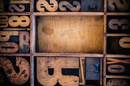 letterpress words: Vintage letterpress type in drawer with copy space. Stock Photo