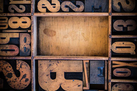 Vintage letterpress type in drawer with copy space. photo