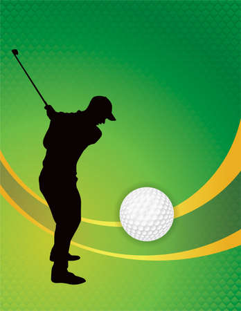 silhouetted: A golf themed illustration with silhouetted golfer, golf ball, and green. Vector EPS 10 available. Illustration