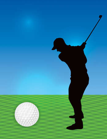 A silhouetted golfer on a golf course. Vector EPS 10 available.