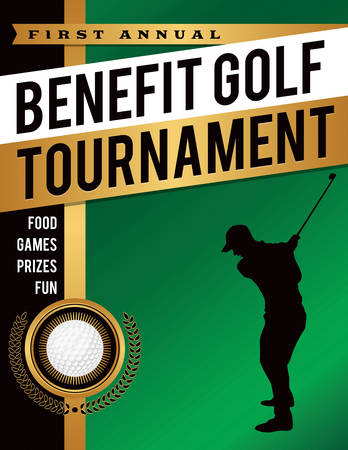 An illustration template for a benefit golf tournament. Vector EPS 10 available. EPS file is layered for separation of text and background. Vettoriali