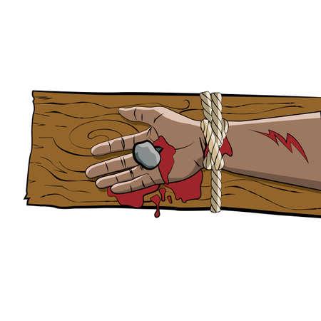 cruz de madera: El brazo de Jesucristo, atado, sangrado y crucificado en una cruz de madera ilustraci�n. Vector EPS 10 disponible.