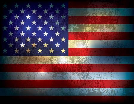 Ein Jahrgang Grunge beunruhigter American Flag Illustration Hintergrund. Vector erhältlich. Datei enthält Transparentfolien und ein Farbverlauf Netz. Illustration