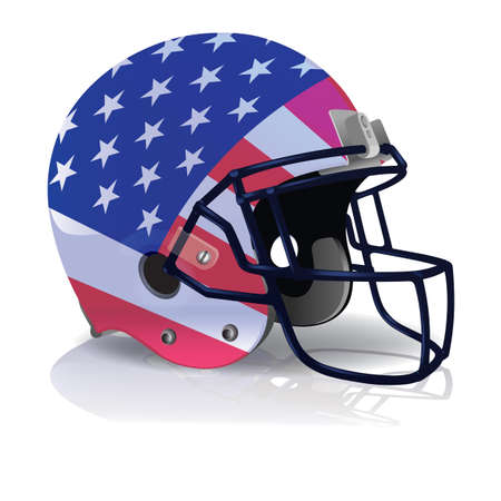 photo realism: An illustration of an American Football helmet with an american flag painted on it. Vector EPS 10 available. EPS file contains transparencies and a gradient mesh.