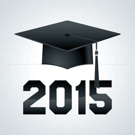 mortarboard: A class of 2015 graduation cap theme illustration. Vector EPS 10 available.