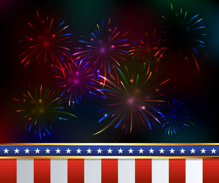 American Independence Day Fourth of July fireworks background. Vector EPS 10 available.