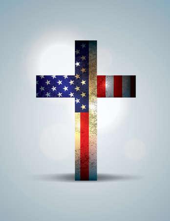 cruz religiosa: Una cruz cristiana formó parte de la bandera americana. Tema patriótico religioso. Vector EPS 10 disponible. Archivo EPS contiene transparencias y malla de degradado. Vectores
