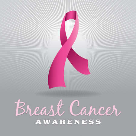 cancer symbol: A pink breast cancer awareness ribbon over a light grey burst. Vector EPS 10 available. EPS file contains a gradient mesh. Illustration