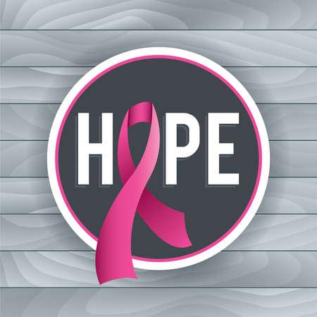 핑크 유방암 인식 리본 및 희망의 테마와 배지를 보여줍니다. 나무 보드의 밝은 회색 배경. 벡터 EPS 10 사용할 수 있습니다. EPS 파일에는 그라디언트 메