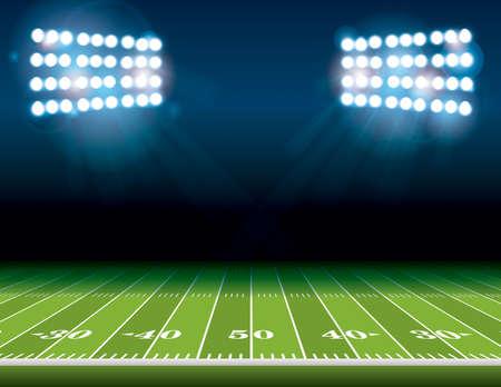 Una ilustración de un campo de fútbol americano con las luces del estadio brillantes brilla en él. Vector EPS 10 disponible. Sitio para la copia. Ilustración de vector