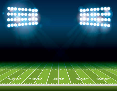 An illustration of an American Football field with bright stadium lights shining on it. Vector EPS 10 available. Room for copy.