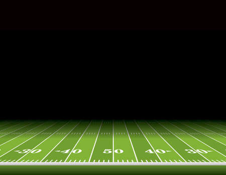 A view from the sideline of an American football field with room for copy. Vector EPS 10 illustration available.