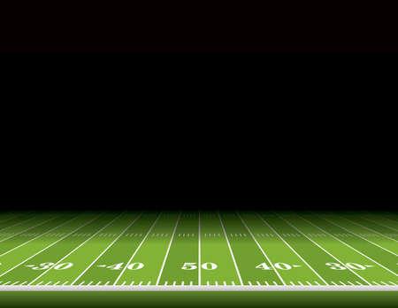 Een blik vanaf de zijlijn van een American football veld met ruimte voor kopiëren. Vector EPS 10 illustratie beschikbaar. Stockfoto - 41383564