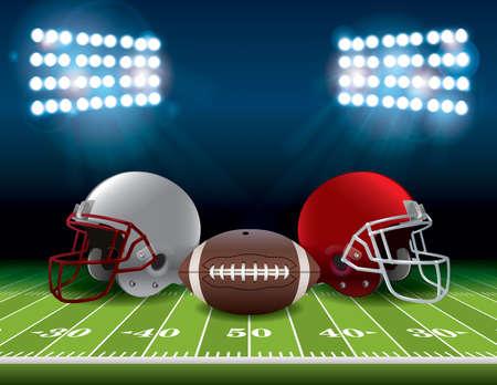terrain football: Un champ de stade de football américain avec des casques et un ballon de football. Vector EPS 10 disponibles. Fichier EPS contient des transparents et filet de dégradé.