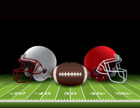 Caschi da football americano e palla seduto su un campo in erba realistico. Vector EPS 10 disponibili. File EPS contiene trasparenze e maglia di gradiente. Archivio Fotografico - 41383566