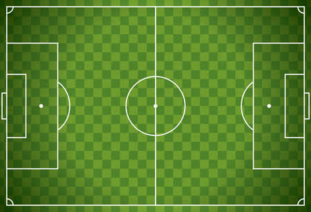 soccer goal: A realistic textured checkered grass football - soccer field. Vector EPS 10 available. EPS file contains transparencies. Illustration