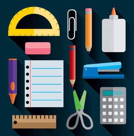 office stapler: A set of office and school supplies illustrated in simple flat design. Vector EPS 10 available. Illustration