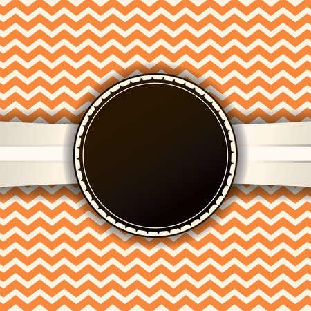 ビンテージ ラベルとリボン付きレトロなオレンジ シェブロン背景。コピーのための部屋。ベクター EPS 10 利用できます。  イラスト・ベクター素材