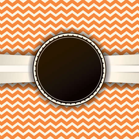 room for copy: A retro orange chevron background with a vintage label and ribbon. Room for copy. Vector EPS 10 available.