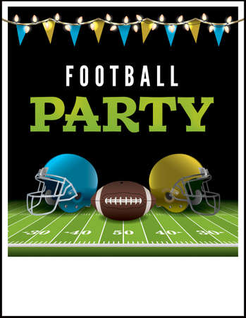 football party: A flyer or poster for an American football party. Vector EPS illustration available. Vector file is layered. EPS file contains transparencies and gradient mesh.