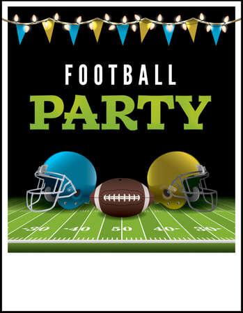 Ein Flyer oder Poster für eine American-Football-Party. Vector EPS Darstellung zur Verfügung. Vektordatei ist geschichtet. EPS-Datei enthält Transparentfolien und Verlaufsgitterobjekten.