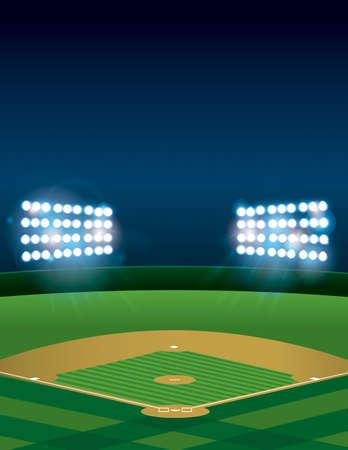 Eine beleuchtete Baseball oder Softball-Feld-Stadion in der Nacht. Vector erhältlich. Datei enthält Transparentfolien und Verlaufsgitterobjekten. Raum für die Kopie.