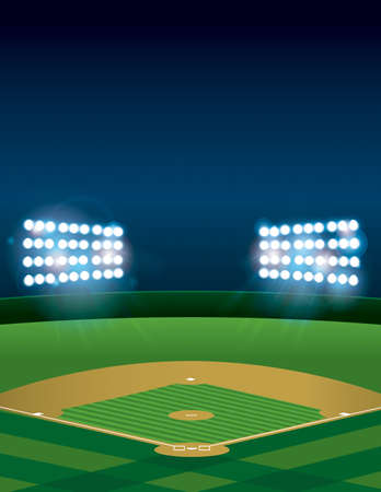 beisbol: Una pelota de béisbol encendido o estadio campo de softbol en la noche. Vector disponible. archivo contiene transparencias y malla de degradado. Sitio para la copia.