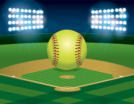 outfield: A yellow softball sitting on an illuminated softball field at night. available. file contains transparencies and gradient mesh. Illustration