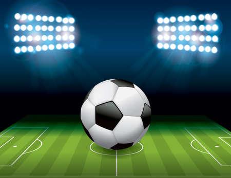 sideline: Un f�tbol bal�n de f�tbol se sienta en un campo del estadio en night.available. contiene transparencias y malla de degradado.