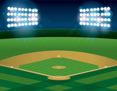 Un campo de béisbol o softbol iluminado por la noche. Vecto. archivo contiene transparencias y malla de degradado. Ilustración de vector